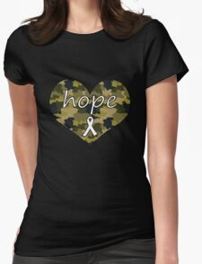 Hope Heart Camo 2 Womens Fitted T-Shirt