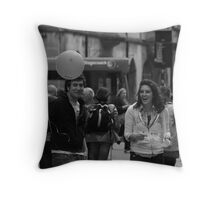 Random people with ballons Throw Pillow