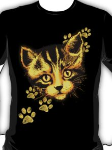 Cute Cat Portrait with Paws Prints T-Shirt