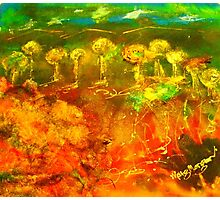 The richness of the Australian landscape (silk paint, raw silk and gutta on silk) Photographic Print