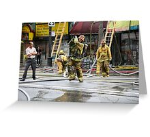 Working Fire Fighters Greeting Card