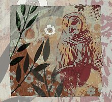 Barred Owl on Branch Flower Cut Out Shapes Leaves Organic Texture Stencil Tapestry Design by jocelynsart