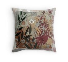 Barred Owl on Branch Flower Cut Out Shapes Leaves Organic Texture Stencil Tapestry Design Throw Pillow