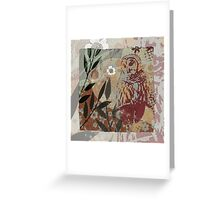 Barred Owl on Branch Flower Cut Out Shapes Leaves Organic Texture Stencil Tapestry Design Greeting Card
