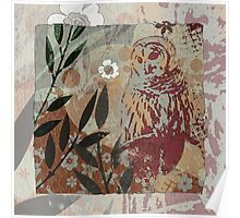Barred Owl on Branch Flower Cut Out Shapes Leaves Organic Texture Stencil Tapestry Design Poster
