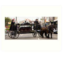 Horse drawn hearse Art Print