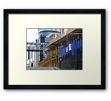 straight & curved - grey, blue and yellow, Calton Hill, Edinburgh Framed Print