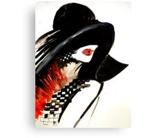 Woman with a hat fashion illustration Canvas Print