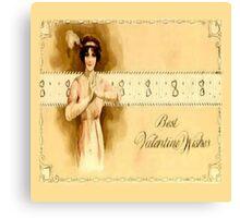 Vintage Valentine Wishes Canvas Print