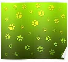 Puppy Paws Green Poster