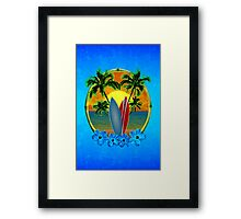 Sunset And Surfboards Framed Print