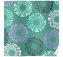 Teal Sea Foam Green Lace Doily Poster