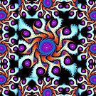 Playful pattern in blue, purple, orange and white by walstraasart