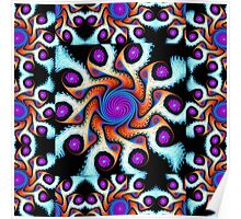 Playful pattern in blue, purple, orange and white Poster