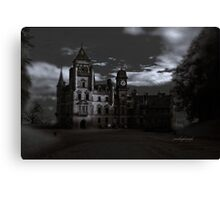 Spooky Night on Dunrobin Castle Black and White (Golspie, Sutherland, Scotland) Canvas Print
