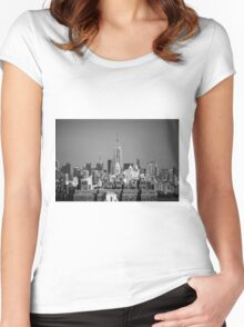 Empire State Building from Brooklyn Bridge Women's Fitted Scoop T-Shirt