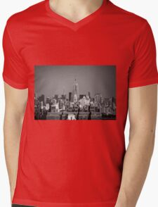 Empire State Building from Brooklyn Bridge Mens V-Neck T-Shirt