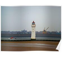 Lifeboat and lighthouse Poster