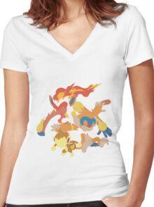 Chimchar Evolution Women's Fitted V-Neck T-Shirt