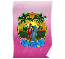Tropical Sunset Pink Poster