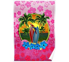 Tropical Sunset Pink Flower Poster