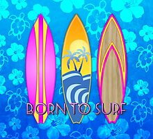 Born To Surf Blue Honu by BailoutIsland