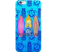 Pink Born To Surf Blue Tiki Mask iPhone Case/Skin
