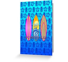 Pink Born To Surf Blue Tiki Mask Greeting Card