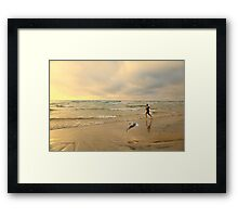 The Girl and The Seagull Framed Print