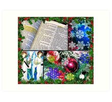 Fancy Christmas Collage in Holly Frame Art Print