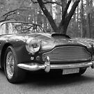 Aston Martin DB4 black & white by Cassie Atkinson