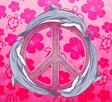 Dolphin Peace Pink Flowers by BailoutIsland