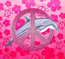 Dolphin Peace Pink Hibiscus by BailoutIsland
