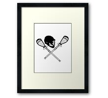Lacrosse helmet & sticks Framed Print