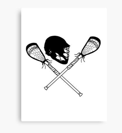 Lacrosse helmet & sticks Canvas Print