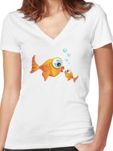 Critterz - Fish :: Olive & Pickles Women's Fitted V-Neck T-Shirt