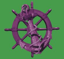 Pink Nautical Ships Wheel And Anchor Kids Tee