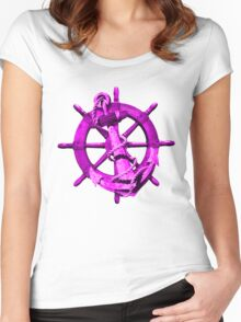 Pink Nautical Ships Wheel And Anchor Women's Fitted Scoop T-Shirt