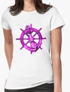 Pink Nautical Ships Wheel And Anchor T-Shirt