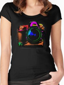 Camera pop art Women's Fitted Scoop T-Shirt