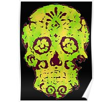 Yellow Green Skull Poster
