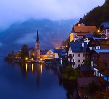 Beautiful Village of Hallstatt Austria at Twilight by Yen Baet