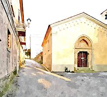 Laureana Cilento: view with chapel by Giuseppe Cocco