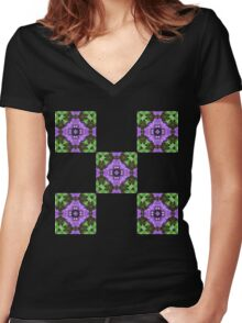Floral Squares Women's Fitted V-Neck T-Shirt