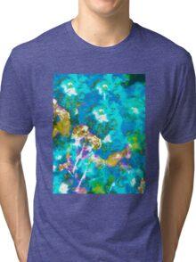 Hibiscus Impressionist Series - Blue Tri-blend T-Shirt