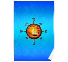 Sailboat And Compass Rose Poster