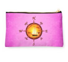 Sailboat And Compass Rose Pink Studio Pouch