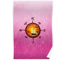 Sailboat And Compass Rose Pink Poster