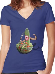 Cucumber salad  Women's Fitted V-Neck T-Shirt