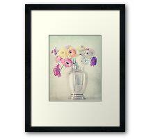 Ranunculas in Silver Vase Framed Print